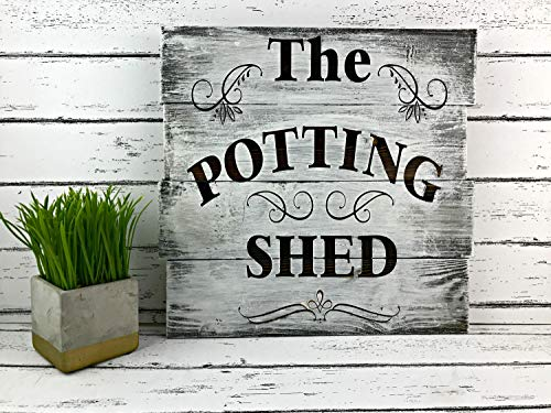 Letrero de jardín con texto en inglés potting shed para la cocina