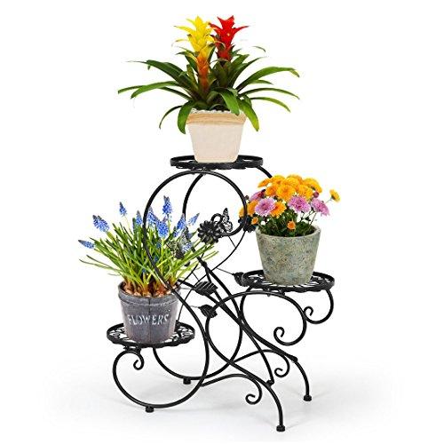 Stand para macetas/estanteria para macetas en diseño de s de metal/escalera para macetas de plantas y flores con 3 niveles/color negro