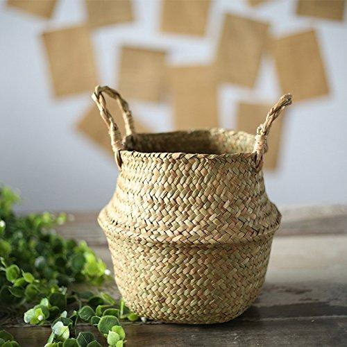 Seagrass cesta de cesteria de mimbre plegable colgante maceta de flores maceta sucia de lavanderia cesto de almacenamiento cesta decoracion para el hogar tamano s