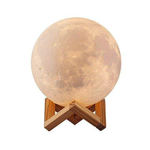 3d lámpara mágica de la luna led lámpara de noche luna llena control tactil luces led regulables carga usb lámpara de mesa regalo de los niños lámpara con base blanco/blanco cálido iluminación