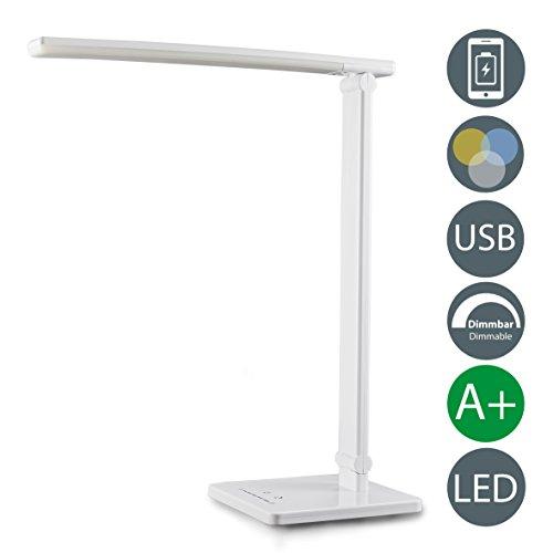 Lámpara led de mesa i barra de led de mesa con usb integrado i mesa de noche i 7 niveles de iluminación y 5 temperaturas de color i lámpara de escritorio i blanca i plástico i 230 v i ip20 i 7 w