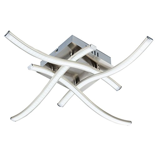 Lámpara de techo moderna i lámpara de techo led con 4 barras de led i lámpara de salón i plafón con focos i luz de techo led i diseño moderno de barras curvadas i dormitorio i 230 v i ip20 i 4 x 3,4 w