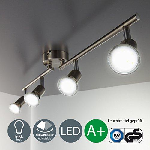 Foco led para techo i lámpara de techo con focos redondos i luz de techo i plafon i lámpara de salón giratoria i incluye 4 x 3 w bombillas led gu10 i color níquel mate i ip20