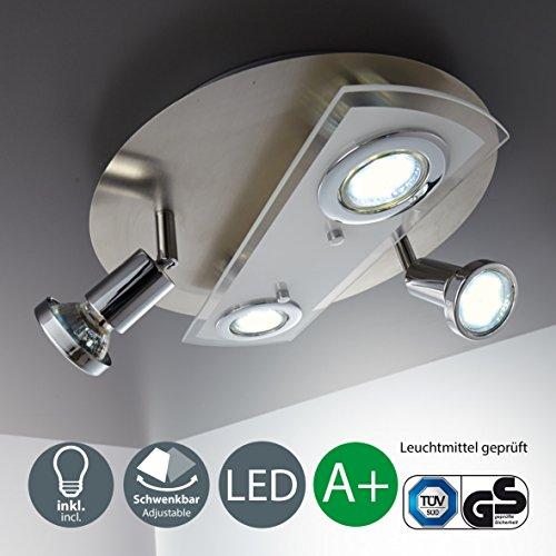 Lámpara de techo i redonda i 4 x 3 w bombillas led gu10 i giratoria i plafón i metal y cristal i foco led para techo i color de luz blanco cálido i 230 v i ip20 i ø 290 mm