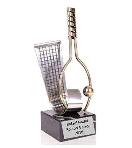 Trofeo tenis rafael nadal roland garros 2018 27cm grabado latón pulido trofeos personalizados trofeos deportivos