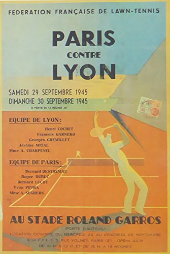 París contre lyon au stade roland garros cuadro con marco