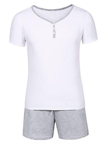 Pijama hombre verano corto de algodón con pantalón