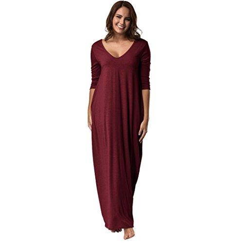 Camisones de mujer tallas grandes vestido 3/4 manga con cuello en v casual vestido largo suelto albornoces pijamas pijamas de una pieza