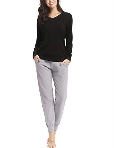 Pijama invierno mujer algodon mangas larga pantalon largo encaje 2 piezas