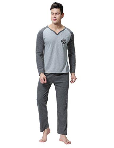 Pijamas de ropa de dormir de 100% algodón set de agradable tacto y cómodo para hombre