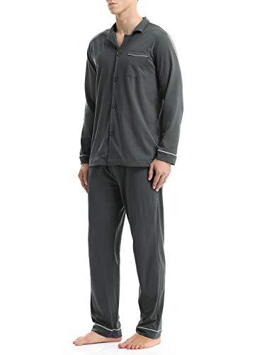 Hombre pijama de 2 piezas conjunto de pijama de 100% algodón para hombre