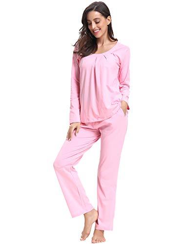 Pijama mujer invierno algodón mangas larga pantalones largo ropa de domir 2 piezas otoño