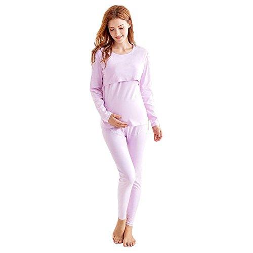 Pijamas de maternidad para mujeres/pijamas de enfermería/ropa de dormir de algodón de manga larga/otoño invierno ropa de dormir cálida para embarazadas y lactancia desnudo