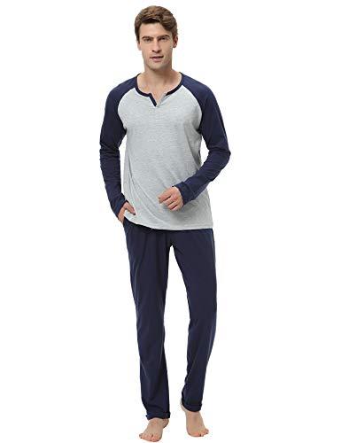 100% algodón pijama hombre invierno mangas larga pantalon largo 2 piezas