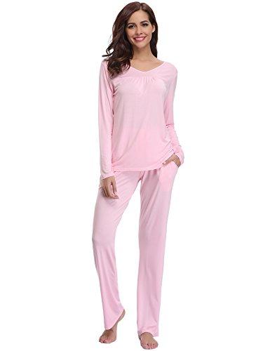 Pijamas mujer algodon 2 piezas conjuntos sexy e elegante manga pantalon largos