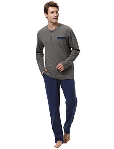 Pijamas hombre invierno 100% algodon mangas largas pantalones largo