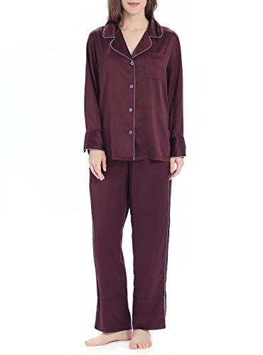 Mujer pijama de 2 piezas conjunto de pijama de satén para mujer