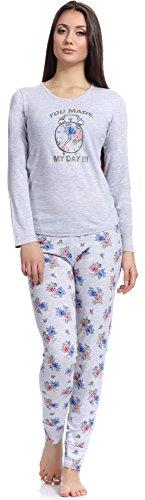 Pijamas conjunto camisetas mangas largas y pantalones largos ropa de cama interior lencería mujer 1198