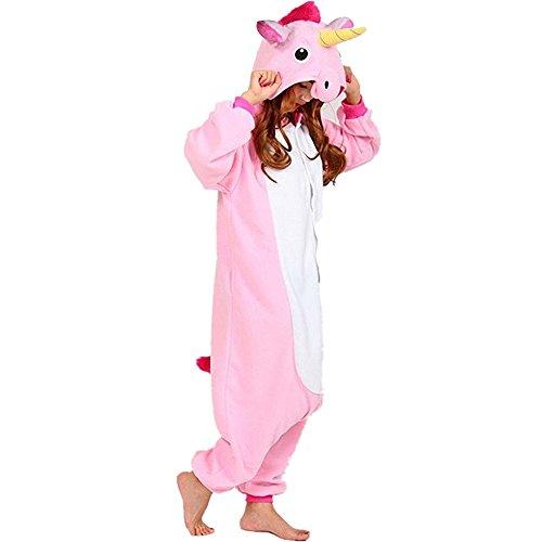 Pijama animal unicornio entero para adultos pijama mono animal para mujer hombre disfraz para navidad con capucha invierno franela estilo con botones/cremalleras al azar