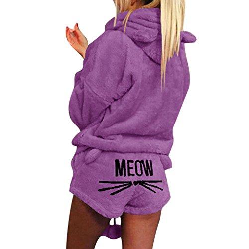 Otoño invierno pijamas mujeres de dos piezas conjunto de pijamas cálidos de lana de coral traje de terciopelo kawaii ropa de dormir lindo gato patrón de sudaderas con capucha corto púrpura 5xl