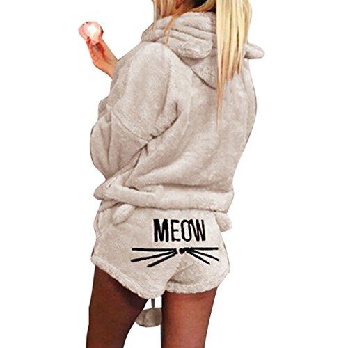 Pijama de otoño invierno mujer conjunto de pijama de dos piezas cálida lana de coral traje de terciopelo kawaii ropa de dormir patrón de gato linda sudadera con capucha corto beige