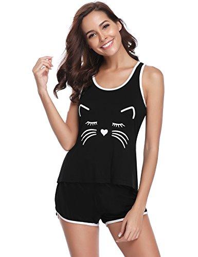 Gatos pijamas verano mujer corto sin manga