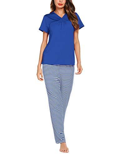 Pijama mujer verano ropa de dormir 2 piezas respirable pantalones de rayas y mangas cortas