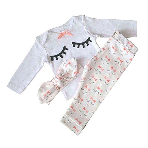 Bebé niñas conjuntos blusas y pantalones y diadema pijama algodón blanco 12-18 meses
