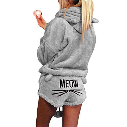 Pijama de otoño invierno mujer pijama de dos piezas conjunto cálida lana de coral traje de terciopelo kawaii pijama patrón de gato linda sudadera con capucha corto gris s