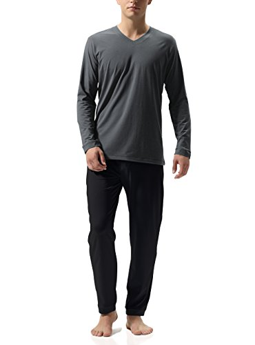 Hombre pijama de 2 piezas básico conjunto de pijama de algodón para hombre