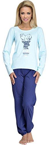 Pijamas conjunto camisetas mangas largas y pantalones largos ropa de dormir de cama lencería mujer 965-2