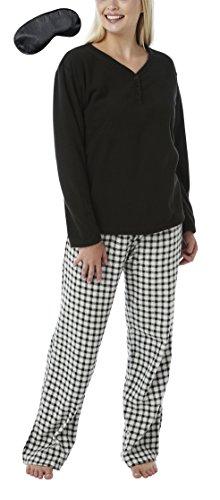 Señoras suave cálido invierno acogedor forro polar largo conejo pijama set negro guinga negro l
