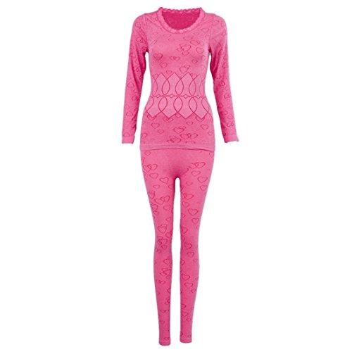 Mujer cuello redondo conjunto termico invierno chaqueta&pantalones larga ropa interior conjunto de pijama roseo