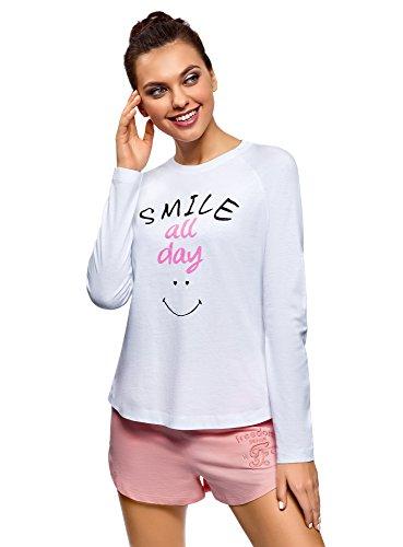 Mujer camiseta de estar por casa con manga raglán e inscripción en el pecho