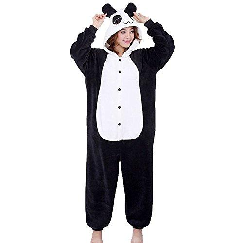 Pijama animal panda entero para adultos pijama mono animal para mujer hombre disfraz para navidad con capucha invierno franela estilo con botones/cremalleras al azar