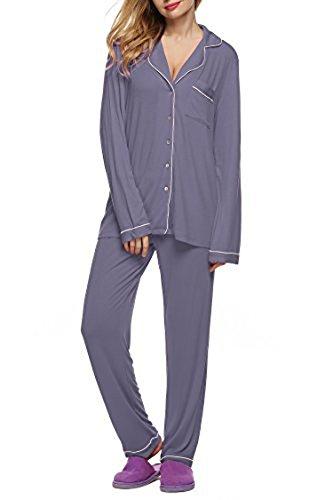 Camisones para mujer pijamas otoño de seda ropa de dormir de 2 piezas