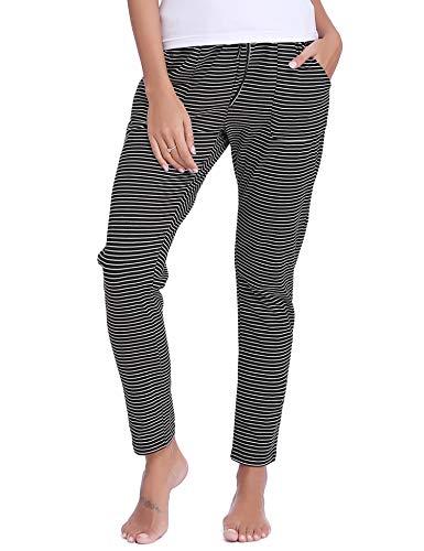 Pantalones de pijama mujer invierno pantalón largo algodón de a rayas otoño