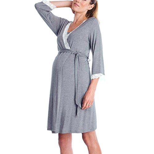 Vestido de lactancia maternidad de noche camisón mujeres embarazadas ropa de dormir premamá pijama verano encaje