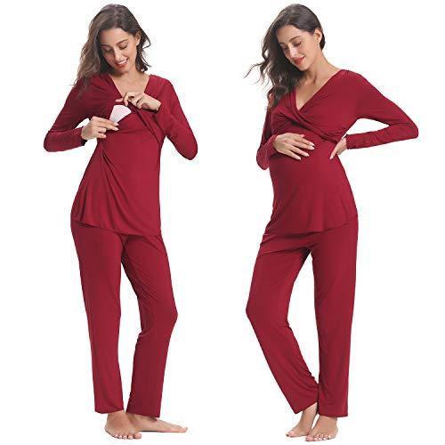 Ropa premamá invierno pijama de lactancia embarazadas algodón mangas largas