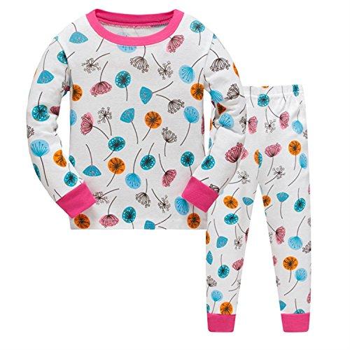 Precioso pijama 100% algodón 2 pieza pijama para niña de » diente de león «