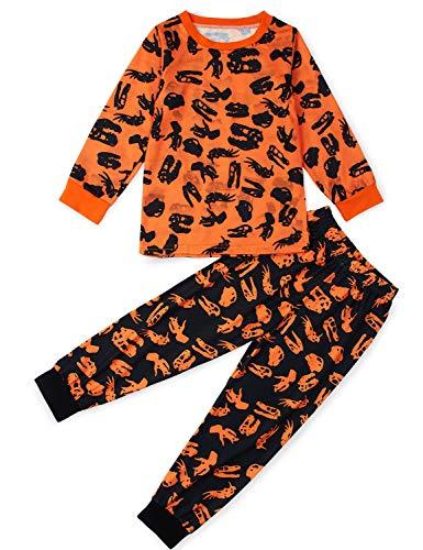 Unisexo pijama para niños animal negro impreso manga larga otoño ropa de dormir disfraz halloween 4-5 años