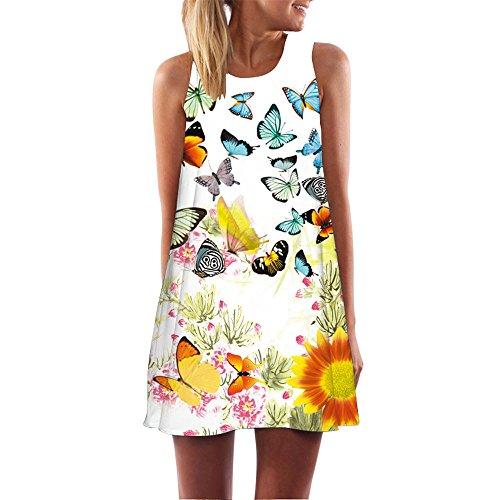 Vestidos mujer veranon vestido de la vendimia boho de la impresión cuello redondo sin mangas del verano de las mujeres túnica t-shirt vestidos para mujer