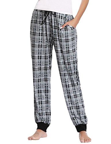 Pijama pantalones largo mujer invierno pantalon de pijama mujer de cuadros cómodo casual suave