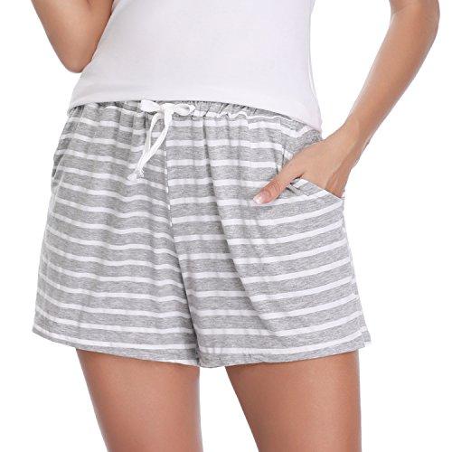 Pantalones cortos mujer verano 2018 pijama de algodón elástico rayas de dormir pantalones cortos cómodo casual