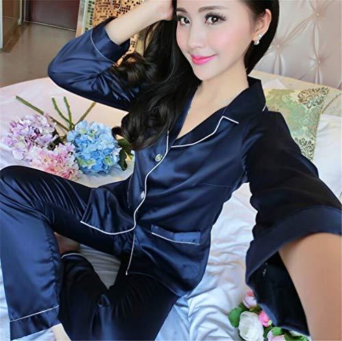 Señoras de seda pijama otoño invierno pantalones de manga larga home service set