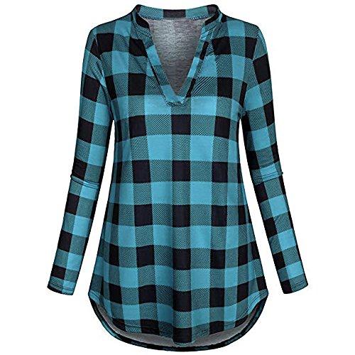 Moda casual de las mujeres con cuello en v de manga larga casual enrollar plaid botón túnica blusas tops