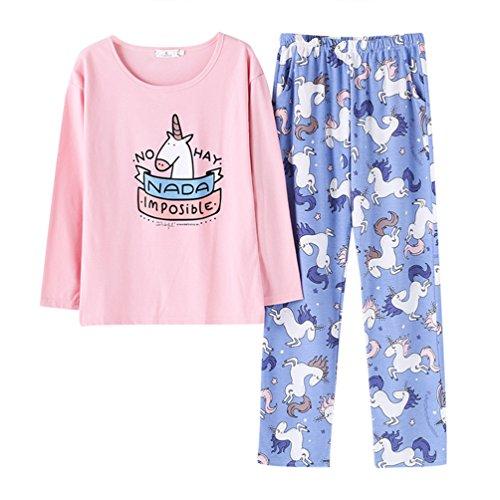 Pijama algodon mujer largo 2 piezas unicornio impreso pijamas para dama ropa hogar set suit