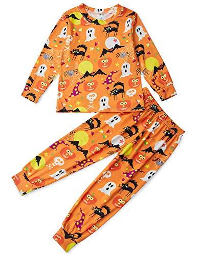 Unisexo pijama para niños fantasma amarillo impreso manga larga otoño ropa de dormir disfraz halloween 4-5 años