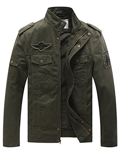 Chaqueta casual de algodón para hombre verde militar x-large