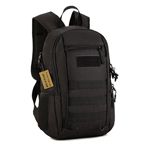 Mochila de asalto estilo militar táctical molle bolsa de bandolera impermeable 12l para las actividades aire libre senderismo caza viajar camping color negro